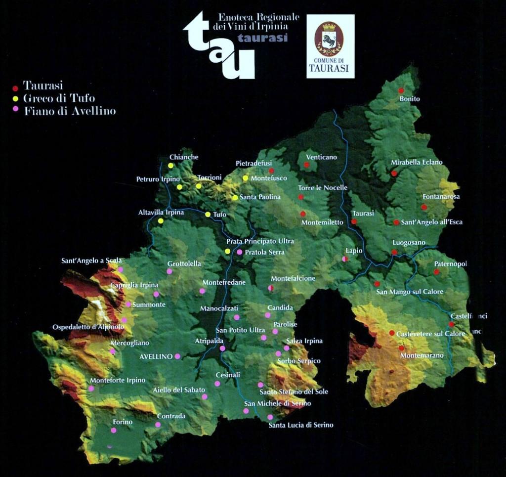 mappa dei vini Irpini DOCG